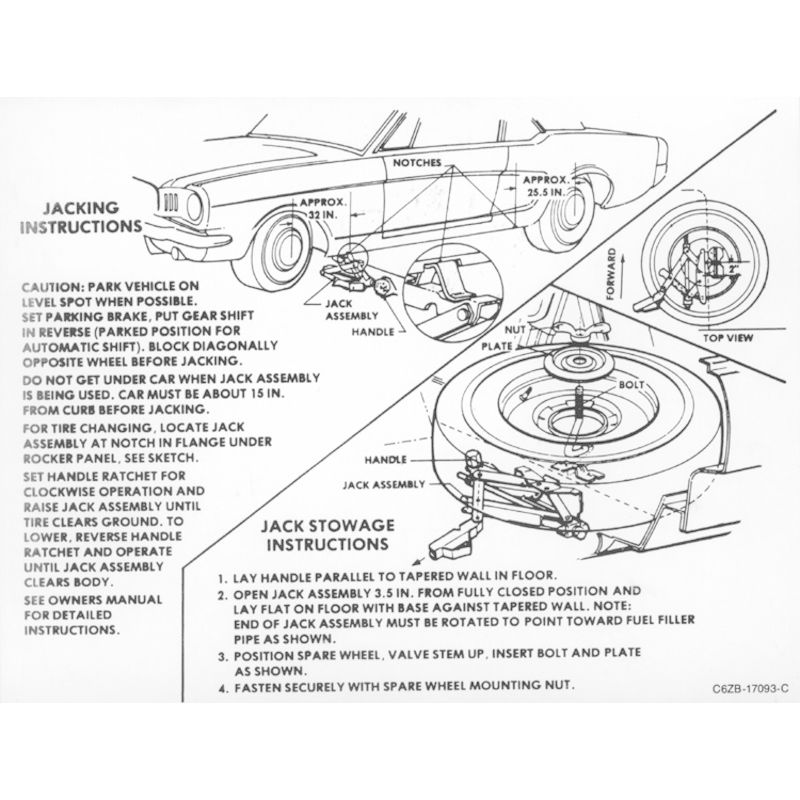 1966 Mustang Trunk Compartment Jack Instructions Decal