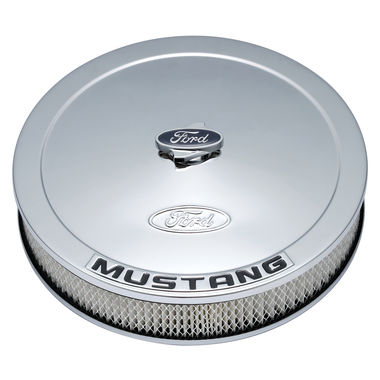 1964-1985 Mustang Ford Racing Air Cleaner Assembly, Chrome, Raised Ford Emblem, Black MUSTANG Logo