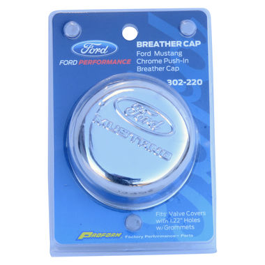 "1964-1985 Mustang Ford Racing Oil Filler Cap, ""Ford Mustang"", Chrome, Push-in"