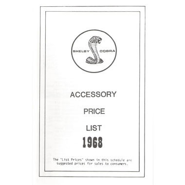 1968 Shelby Mustang, Shelby Accessory Price List