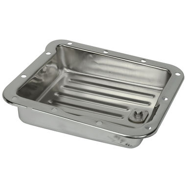 1965-1973 Mustang Transmission Pan, C4, Chrome, with Drain Plug