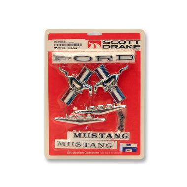 1965-1966 Mustang Emblem Kit, Cpe & Conv, 8 cyl, 289