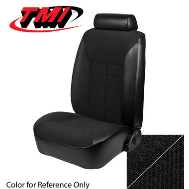1982 Mustang GL Coupe Low Back Seat Upholstery- Cloth & Vinyl, Black